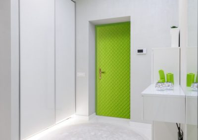 modern white apartment hallway