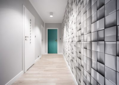 Geometric wallpaper in hallway