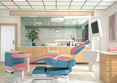 Room with equipment in the clinic of dentistry and cosmetology.