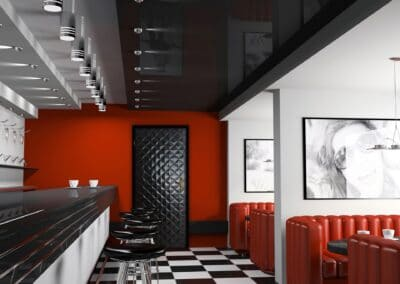 Interior of fashionable bar with cafeteria chairs