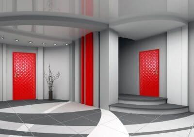 3D render modern interior of hall