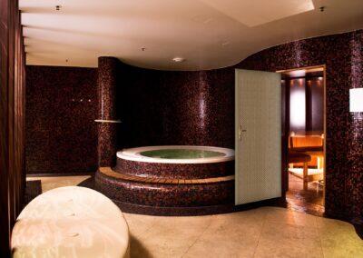 Modern bathroom interior with jacuzzi and sauna